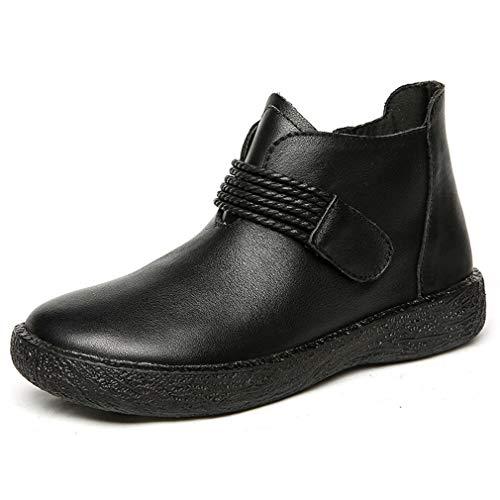 Casual Bootie (YAN Damenschuhe Lederstiefel Warm Oxford Bottom Non-Slip Casual Booties Side Zipper Vintage Martin Boots,Black,41)