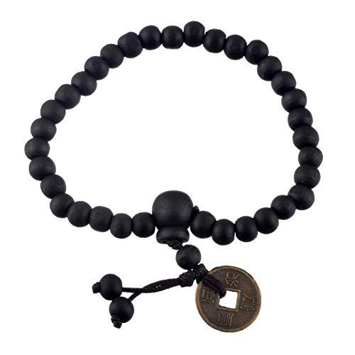 MSITIAN Armband Mode Antike Münzen Charme Flechten Makramee Strang Perlen Armbänder Geschenk Holz Buddha Perlen Armbänder Für Männer Chinesisch -
