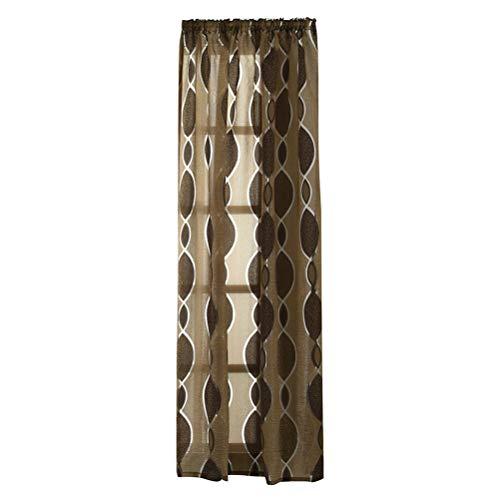 eening Dual Farbe Kreis Bubble Cut Fenster Tüll Stange Verarbeitung Volant Vorhang für Schlafzimmer Wohnzimmer Fenster Dekoration (100x250 cm, Dark Coffee) ()
