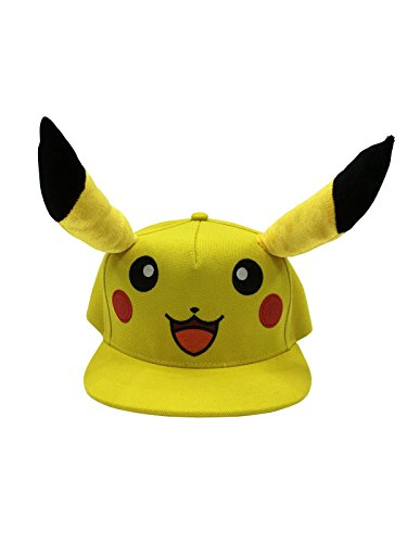Official-Pokemon-Pikachu-Snapback-Baseball-Cap-Yellow-And-Black-Brand-New