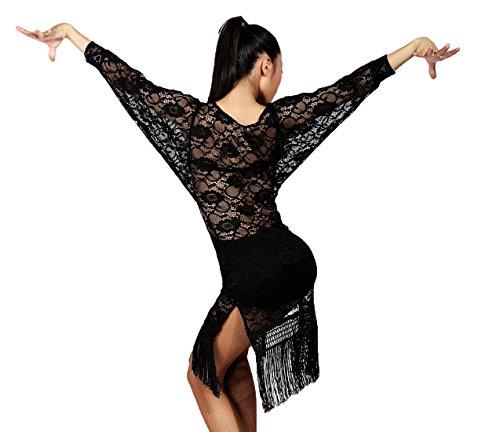G3018 Latin Tanz halblichtdurchlässige Lace und Masche Quaste Kleider angeboten von GloriaDance (black, large) (Kurzarm-kleid Waltz)
