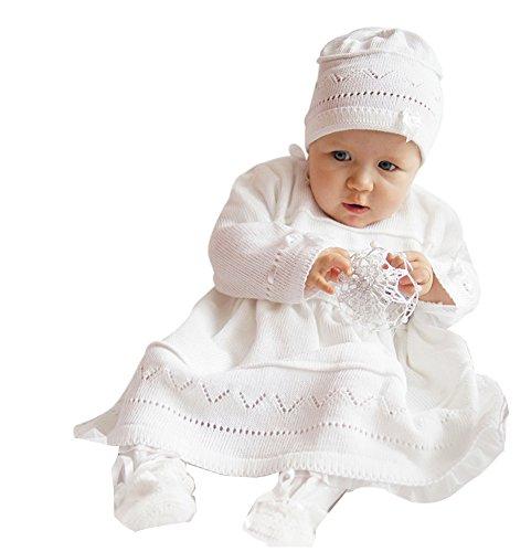 deine-Brautmode Babykleid Taufkleid Strickkleid Festkleid Mädchen Baby Taufe Kleid gestrickt, Emma 56
