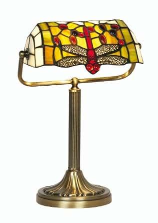 Oaks Lighting Dragonfly Tiffany Bankers Lamp