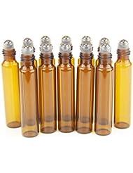One Trillion, Bernstein, 10 ml Roll-on-Flaschen Glas mit Edelstahl-Roller Kugeln, für ätherische Öle, 1 ml Kunststoff Pipetten Pipette (12 Stück)