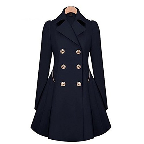 Damen Mantel Jacke Übergangs A-Linie Slim Fit Windbreaker Frauen Elegante Trenchcoat mit Taschen Herbst Winter
