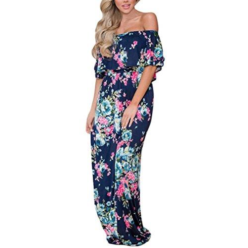 Dresses Women Floral Printed Off Shoulder Maxi Dresses Ruffle Party Dress Side Split Beach Maxi Dress