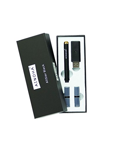 AINOHA® AllStar Black - Alternative zur E Zigarette | Nikotinfrei | wiederaufladbar | Starterset | Schadstofffrei | 100{d6940fff442f3f522bc1f30be12fa459c5bac7f492d76c7134c941159259903f} organisch gewonnenes Aroma | inkl. 2 Capsules Geschmack Minze & Kirsche