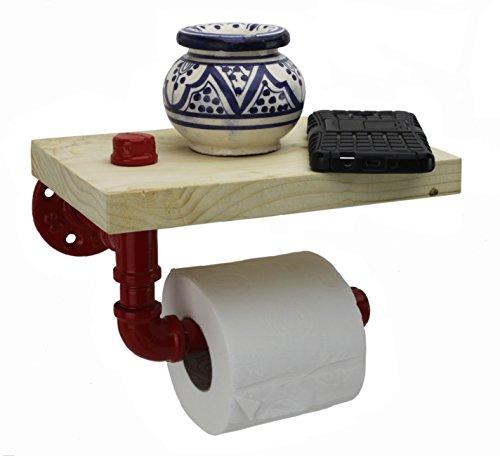 Irwost - the Original - Epoxy farbiger Toilettenpapierspender mit massivem Kiefernholzregal im Retro-Industriedesign-Deko-Stil.