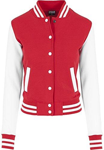 TB218 Ladies 2-tone College Sweatjacket, Größe:S;Farbe:red/wht