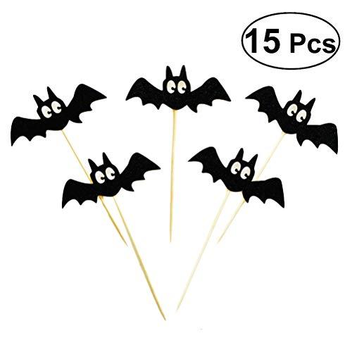 Bat Cupcake Toppers Halloween Kuchen Picks Cocktail-Sticks Essen Zahnstocher Halloween Party Kuchen Dekorationen ()
