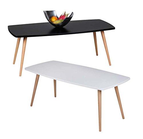 FineBuy Design Couchtisch SKANDI 110 x 50 x 42 cm Form Rechteckig Skandinavischer Retro Look | Matt Lackierter Wohnzimmertisch mit Holz-Gestell | Wohnzimmer Möbel Tisch | Farbe: Schwarz