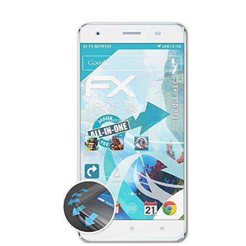atFolix Schutzfolie passend für Oukitel C5 Folie, ultraklare & Flexible FX Bildschirmschutzfolie (3X)