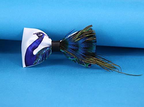 LLTYTE Männer Fliege Mode Neuheit Feder Fliege Gedruckt Blau Pfau Fliegen Für Männer Hochzeit Geschenk Bräutigam Zubehör