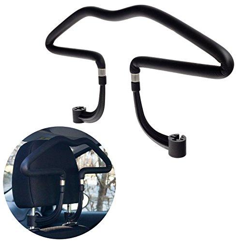 Smartfox KFZ Kleiderbügel Reisebügel Autobügel für Kopfstütze aus Kunstleder für Hemden Jacken Shirts Anzüge usw.