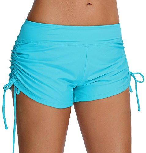 OLIPHEE Damen Badeshorts Bikinihose Wassersport Hotpants Verstellbare Kordel Bände Schwimmshorts Bunte Farben Blau