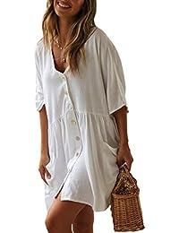 PANAX Damen Baumwolle Strandkleid Einreiher Strandponcho
