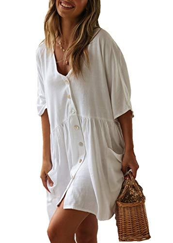 PANAX Damen Baumwolle Strandkleid Einreiher Strandponcho Weiß