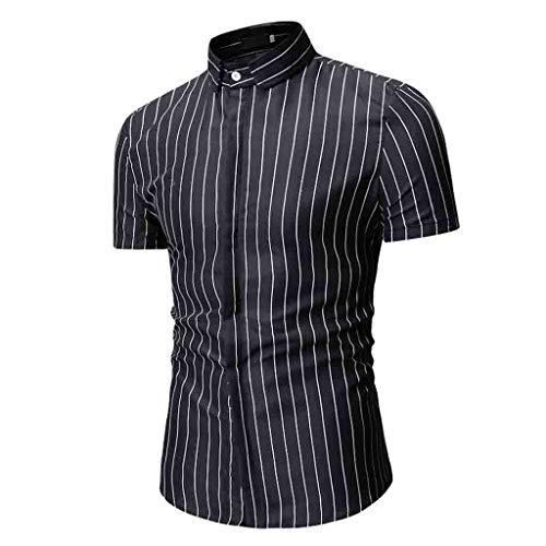 UJUNAOR T Shirt Uomo Elegante Stampa Floreale a Pois a Righe Maglia a Maniche Corta Bottoni Moda Primavera-Estate 2019 Nuovo M-XXXL(XX-Large,6-Nero)