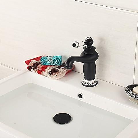 BFDGN Semplice Morden durevole e robusto il rame spazzolato per rubinetti lavandini bagno Nero uno (Piccolo Nero Maniglia)