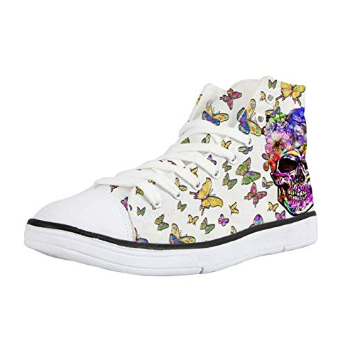 Mens Sneakers Cool Black Skull Canvas Plimsolls Hi Tops Walking Shoes Soft Pumps White+Butterfly CC3533AK 6.5 Carlyle China