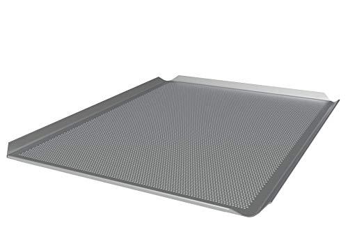 LEHRMANN Bandeja perforada 46 x 35 cm Placa de pizza rectangular Bandeja para horno Siemens Bosch Neff...
