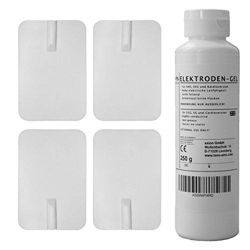 Electrodos grandes caucho y gel - Parches reutilizables conexión de clavija universal 2mm - (90x60mm) - Almohadillas calidad axion