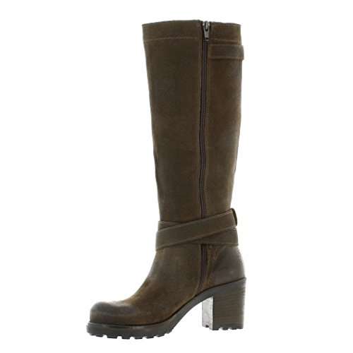 Pao Bottes cuir velours taupe Taupe
