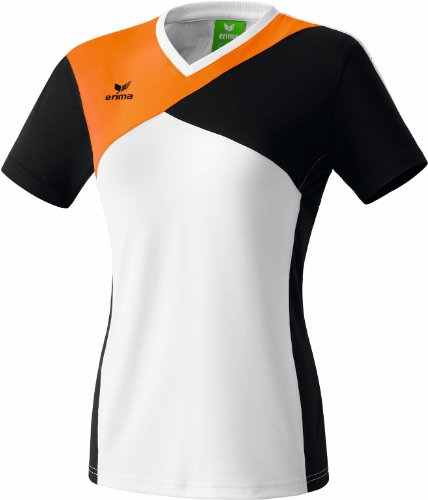 Erima Damen Premium One T-Shirt, Weiß/Schwarz/Neon Orange, 48, 108445 Preisvergleich