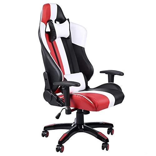 WARM ROOM Racing Stuhl, 360 Grad Schwenk stromlinienförmige Leder Computer Office Spiel Stuhl High Back Lift verstellbare Wohnheime Möbel,2 - Leder Back Spiel-stuhl