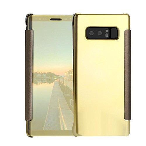 Für Samsung Note 8stylische Spiegel Leder Fall, Y56Für Samsung Galaxy Note 8transparent View Spiegel Leder Flip Ständer Schutzhülle, gold