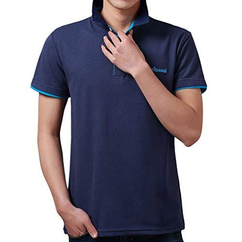 Junioren Waffel (Haughtily Herren Sommer Mode Kurzarm Polo Hemd Umlegekragen Knöpfe Beiläufige Lose T-Shirt Business Bluse)