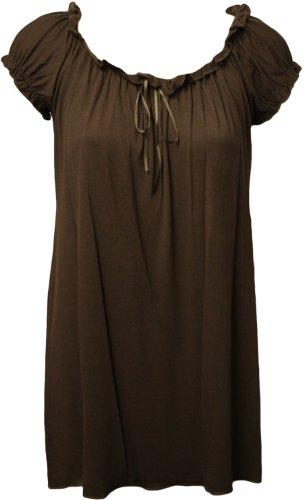WearAll - Tunique extensible à manches courtes - Hauts - Femmes - Grandes tailles 40 à 58 Brun Foncé