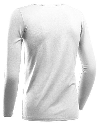 HEMOON Herren Slim Langarmshirt Classics Top V-Ausschnitt Tee Fitness Weiß