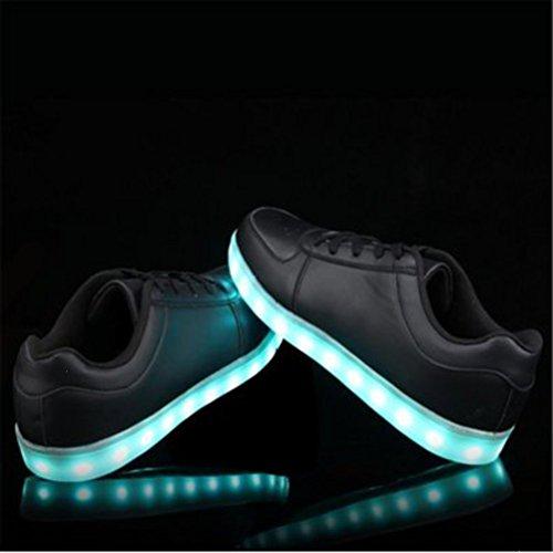 (Présents:petite serviette)JUNGLEST® - 7 Couleur Mode Unisexe Homme Femme Fille USB Charge LED Chaussures Lumière Lumineux Clignotants Chaussures de marche Haut-Dessus LED Ch Noir