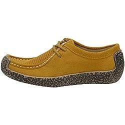 MatchLife Damen Schnürsenkel Mokassins Wildleder Pumps Schuhe Style2 Gelb EU34/CH35