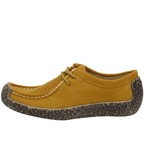 MatchLife Damen Schnürsenkel Mokassins Wildleder Pumps Schuhe Style2-Gelb