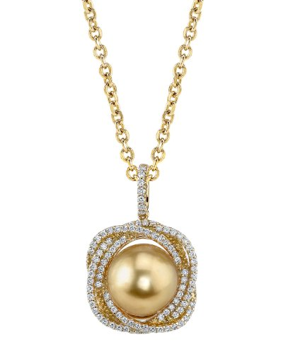 Golden South Sea Cultured Pearl & Diamond Braided Pendant in 18K Gold