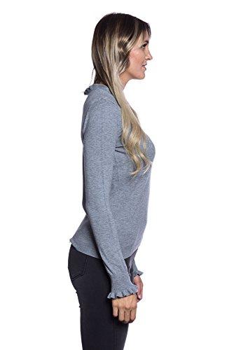 Abbino CG005 Pullovers Ragazze Donne - Multiplo Colori - Transizione Autunno Inverno Classiche Pullover Casual Eleganti Promozione Cómodo Attraente Festivo Tenerezza Delicato Tenerezza Grigio (Art. 2580)