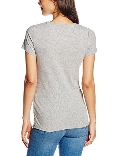 Tommy Hilfiger Womenswear - Lizzy Logo Round Nk Top Ss, Maglia da donna Grigio (LIGHT GREY HTR)