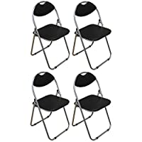 Harbour Housewares Black Padded, Folding, Desk Chair - Pack of 4