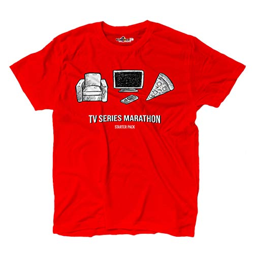 Camiseta Serie Tv Maraton T-shirt Binge Watching Nerd Parodia Rossa S red