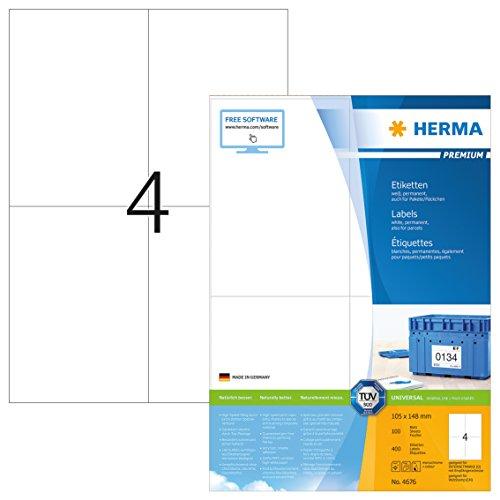 Herma 4676 Universal Etiketten (DIN A6 Format 105 x 148 mm) weiß, 400 Aufkleber, 100 Blatt A4 Premium Papier matt, bedruckbar, selbstklebend