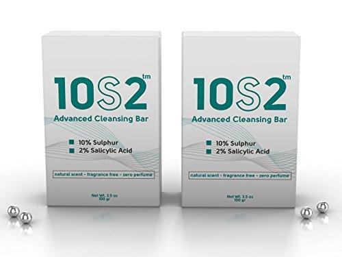 Salicylsäure Seife (Vorteilspack: 10S2 - 10% Schwefel Seife, 2% Salicylic Acid - Haar- und Körperwaschstück, Anti-Fungal Antiseptic Facial Acne, Foot, Scalp & Body Soap, 407)