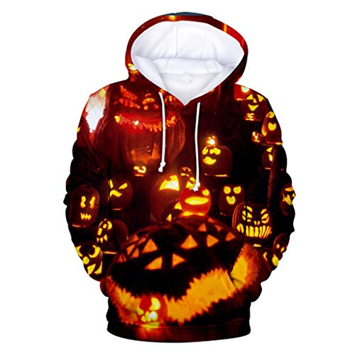 LILIHOT Mens Langarm Hoodie Top Bluse Casual Scary Halloween Liebhaber 3D Print Party Sweatshirts Herren Herbst Lässig Feste Hüfte Pop Loose Fit Fleece Langarm Hoodie Top Bluse -