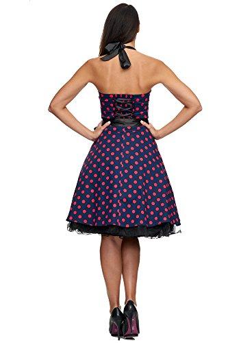 Zarlena Rockabilly Kleid 50er Polka Dots Petticoat Punkte Vintage Neckholder Tellerrock Dunkelblau mit pinken Dots