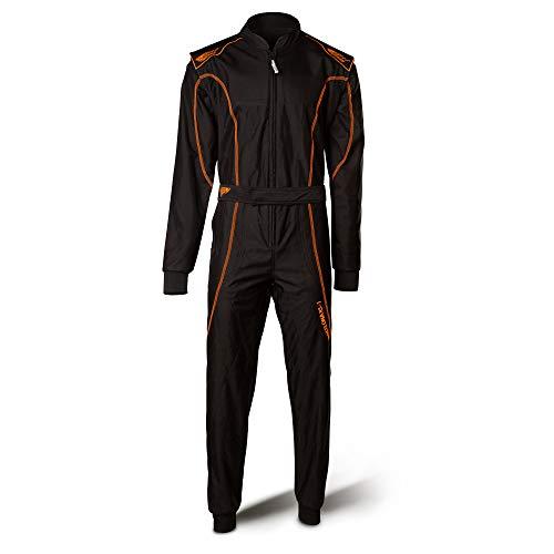 Speed Rennoverall - CIK - FIA Zulassung - Kartoverall Barcelona RS-1 schwarz-Neonorange (XXL) - Speed Overall