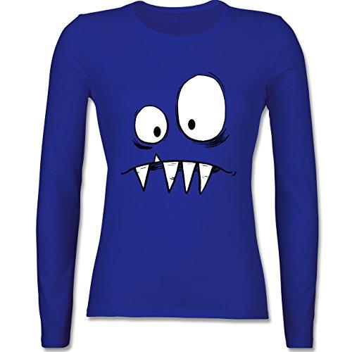 & Fasching - Monster Gesicht Kostüm 2 - XS - Royalblau - BCTW013 - Damen Langarmshirt (Super Günstige Damen Kostüme)