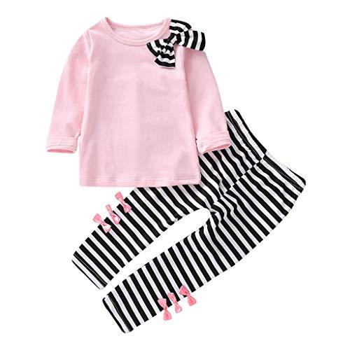 catmoew Mädchen Sets (2J-6J) Baby Mädchen Kind Lange Ärmel Kleidung Streifen Bow Einfarbig Top + Hosen Zweiteiliger Anzug mädchen Kleider Baby kinderkleidung
