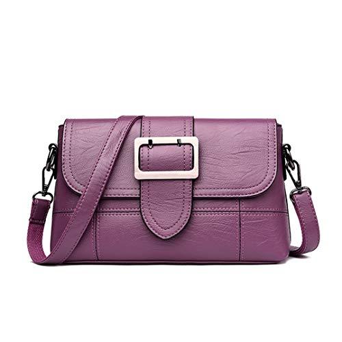 Skyinbags Single Schulter Schräg Tasche Fashion Weiches Leder Reine Farbe Einfachheit, Violett
