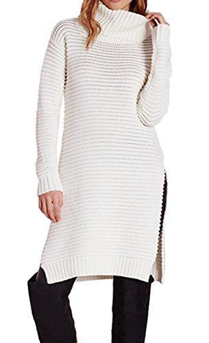 0e6a739aa057d Bigood Femme Pulls Longue Uni Tricot Tops Haute Col Sweat-shirt Chemise  Slimmer Avec Culotte
